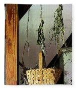 Basket And Drying Herbs Fleece Blanket