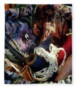 Basket Of Crocheting And Thread Fleece Blanket