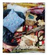 Basket Of Sewing Supplies Fleece Blanket