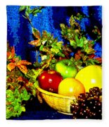 Basket With Fruit Fleece Blanket