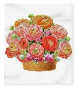 Basket With Ranunculus Flowers Watercolor Fleece Blanket