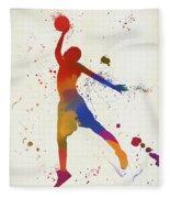 Basketball Player Paint Splatter Fleece Blanket