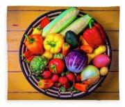 Basketful Of Fresh Vegetables Fleece Blanket