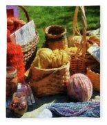 Baskets Of Yarn At Flea Market Fleece Blanket