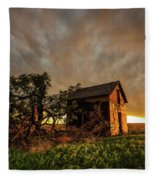 Basking In The Glow - Old Barn At Sunset In Oklahoma Panhandle Fleece Blanket
