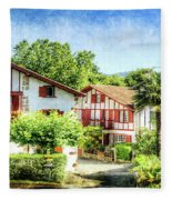 Basque Houses In Ainhoa 2- Vintage Version Fleece Blanket