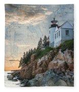 Bass Harbor Lighthouse On Maine Nautical Chart Fleece Blanket