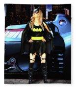 Bat Gal In The City Fleece Blanket