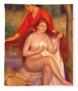 Bather And Maid The Toilet Fleece Blanket