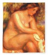 Bather Drying Her Leg Fleece Blanket