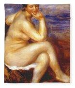 Bather With A Rock Fleece Blanket