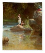Bathers At The River. Evening In Orinoco? Fleece Blanket