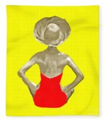 Bathing Beauty Red Suit Painting Fleece Blanket