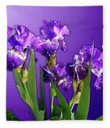 Batik Irises Fleece Blanket