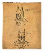 Batman Cowl Patent In Sepia Fleece Blanket