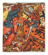 Battle Between Crusaders And Muslims Fleece Blanket