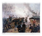 Battle Between Kearsarge And Alabama Fleece Blanket