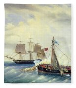 Battle Between The Russian Ship Opyt And A British Frigate Off The Coast Of Nargen Island  Fleece Blanket