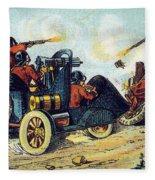 Battle Cars, 1900s French Postcard Fleece Blanket