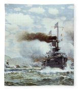 Battle Of Manila Bay 1898 Fleece Blanket