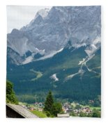 Bavarian Alps With Shed Fleece Blanket