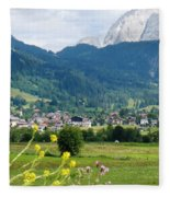 Bavarian Alps With Village And Flowers Fleece Blanket