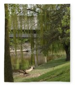 Bavarian Covered Bridge Over The Cass River Frankenmuthmichigan Fleece Blanket
