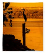 Bay At Sunrise - Heron Fleece Blanket