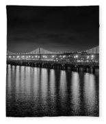 Bay Bridge San Francisco California Black And White Fleece Blanket