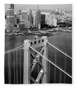 Bay Bridge Tower And San Francisco Skyline Fleece Blanket