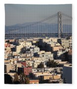 Bay Bridge With Houses And Hills Fleece Blanket