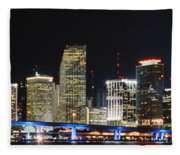 Bay Front Miami Skyline Fleece Blanket