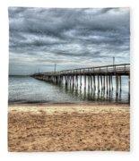 Bay Side Lynnhaven Fishing Pier Fleece Blanket