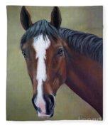 Bay Thoroughbred Horse Portrait Ottb Fleece Blanket