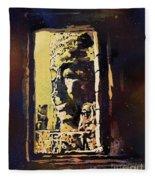 Bayon IIi- Cambodian Ruins, Angkor Wat Fleece Blanket