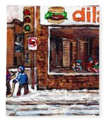 Scenes De Rue De Montreal St Henri Partie De Hockey En Hiver Hockey At Dilallo's Burger Fleece Blanket