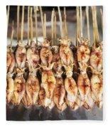 Bbq Asian Grilled Squid In Kep Market Cambodia Fleece Blanket