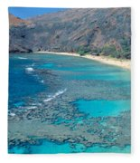 Beach And Haunama Bay, Oahu, Hawaii Fleece Blanket