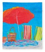 Beach Art - The Red Umbrella Fleece Blanket