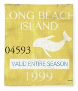 Beach Badge Long Beach Island 2 Fleece Blanket