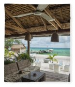 Beach Bar In Sok San Area Of Koh Rong Island Cambodia Fleece Blanket