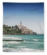 Beach By Jaffa Yafo Old Town Area Of Tel Aviv Israel Fleece Blanket