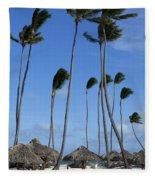 Beach Cabanas And Palm Trees Fleece Blanket