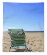 Beach Chair On A Sandy Beach Fleece Blanket