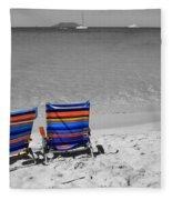 Beach Chairs 2  Fleece Blanket