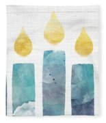 Beach Colors Menorah- Art By Linda Woods Fleece Blanket