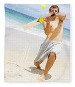 Beach Cricket Slog Fleece Blanket