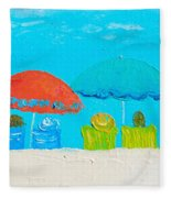 Beach Decor - Umbrellas Panorama Fleece Blanket