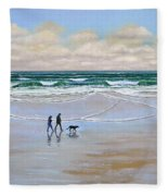Beach Dog Walk Fleece Blanket