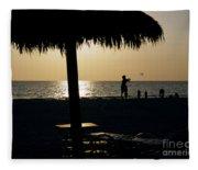 Beach Frisbee At Sunset On Marco Island Florida Fleece Blanket
